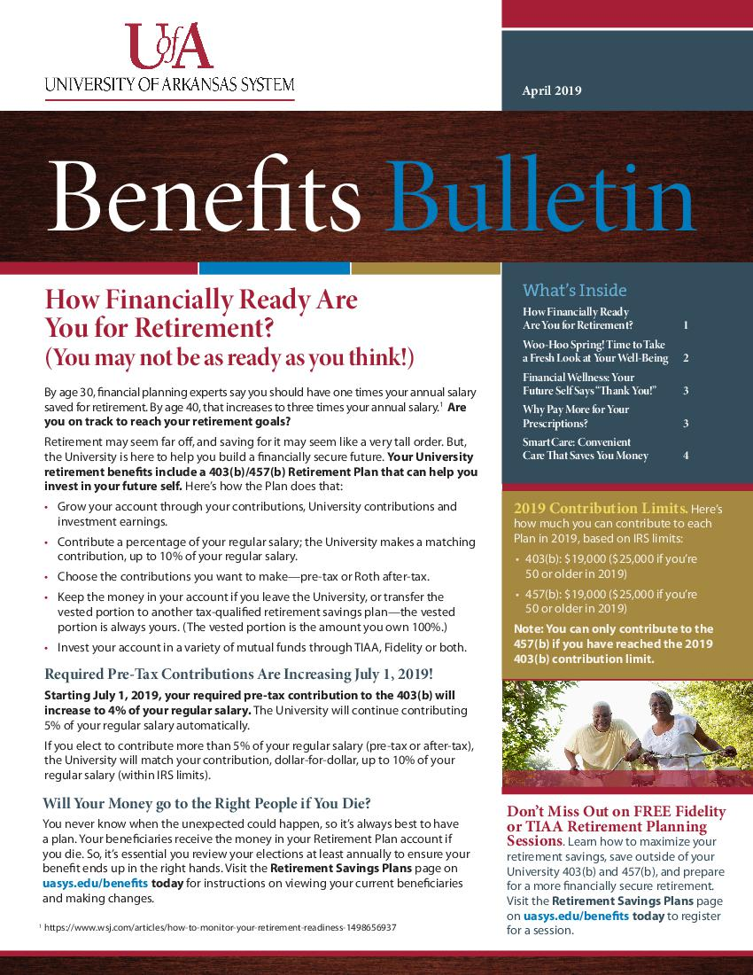 April 2019 Benefits Bulletin